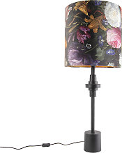 Lampe de table abat-jour velours noir fleur design