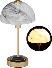 Lampe de table, Abat-jour verre marbré, pied