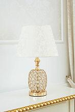 Lampe de table Arielle or avec cristaux abat-jour