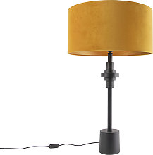 Lampe de table art déco abat-jour velours noir