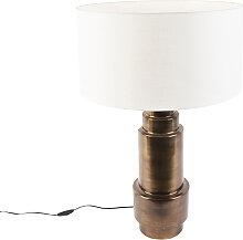Lampe de table Art Deco avec abat-jour blanc 50 cm