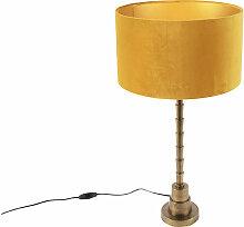 Lampe de table Art Déco avec abat-jour en velours
