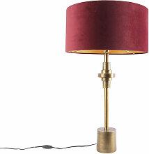 Lampe de table Art Déco bronze velours abat-jour