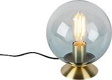 Lampe de table art déco en laiton avec verre bleu