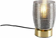 Lampe de table Art Déco en laiton avec verre