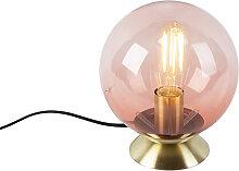 Lampe de table Art Déco en laiton avec verre rose