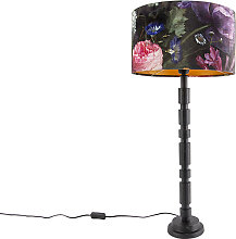 Lampe de table art déco noir avec abat-jour 35 cm