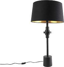 Lampe de table art déco noir avec abat-jour en