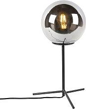 Lampe de table art déco noir avec verre fumé