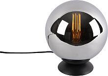 Lampe de table art déco noir avec verre fumé -