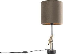 Lampe de table art déco noire avec abat-jour