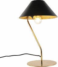 Lampe de table Art Déco noire avec intérieur