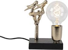 Lampe de table Art Déco noire avec or 18,5 cm -
