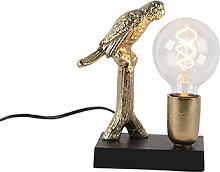 Lampe de table Art Déco noire avec or 23 cm -