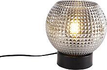 Lampe de table Art Déco noire avec verre fumé -