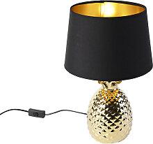 Lampe de table Art Déco or avec abat-jour noir et