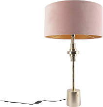 Lampe de table Art Déco velours doré abat-jour