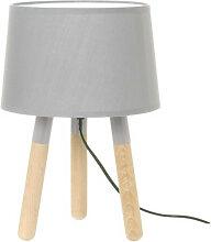 Lampe de table bois abat jour gris clair