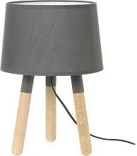 Lampe de table bois. abat jour gris foncé