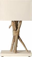 Lampe de table bois flotté abat jour blanc