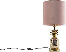 Lampe de table botanique or avec abat-jour velours