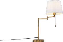 Lampe de table bronze avec abat-jour blanc et bras