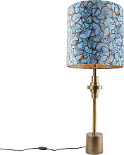 Lampe de table bronze velours abat-jour papillon
