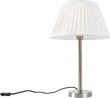 Lampe de table classique acier avec abat-jour