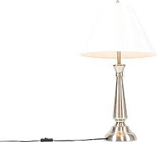 Lampe de table classique en acier avec abat-jour