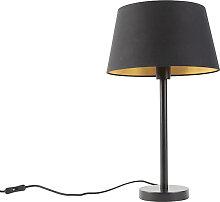 Lampe de table classique noir avec abat-jour noir