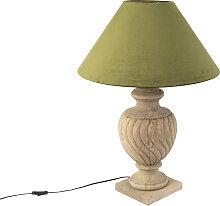 Lampe de table Country abat-jour velours vert