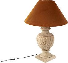 Lampe de table country avec abat-jour velours