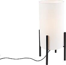 Lampe de table design abat-jour en lin noir blanc