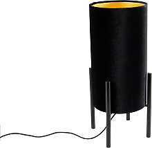 Lampe de table design abat-jour en velours noir