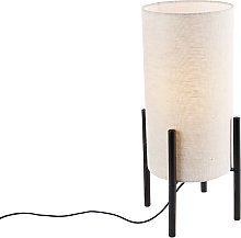 Lampe de table design abat-jour lin noir gris -