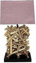 Lampe de table design en bois flotté avec