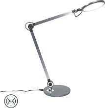 Lampe de table design grise avec LED avec chargeur