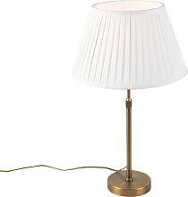 Lampe de table en bronze avec abat-jour plissé