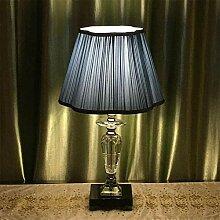 Lampe de table en cristal avec abat-jour en tissu
