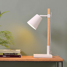 Lampe de table en fer blanc et bois de frêne