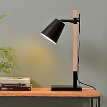 Lampe de table en fer noir et bois de frêne
