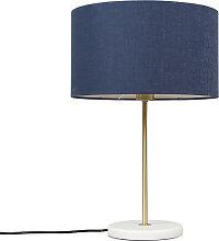 Lampe de table en laiton avec abat-jour bleu 35 cm