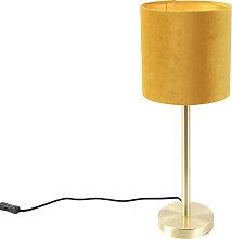 Lampe de table en laiton avec abat-jour jaune 20