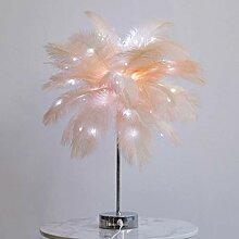 Lampe de table en plumes blanc chaud arbre de
