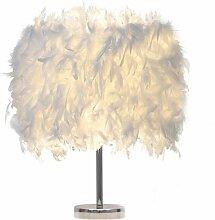 Lampe de table en plumes Blanc Lampes de Chevet
