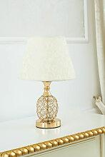 Lampe de table Jacob en or avec abat-jour tissu 36
