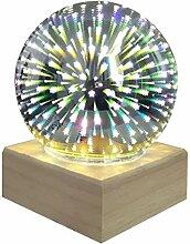 Lampe de table LED 3D colorée en forme de boule