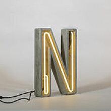 Lampe de table Néon Alphacrete / Lettre N -