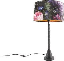 Lampe de table noir 35 cm abat-jour velours design