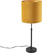 Lampe de table noir avec abat-jour en velours